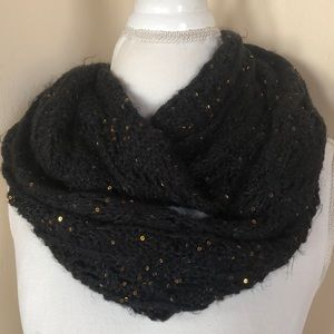 Accessories - Black Infinity Scarf with Gold Sequin